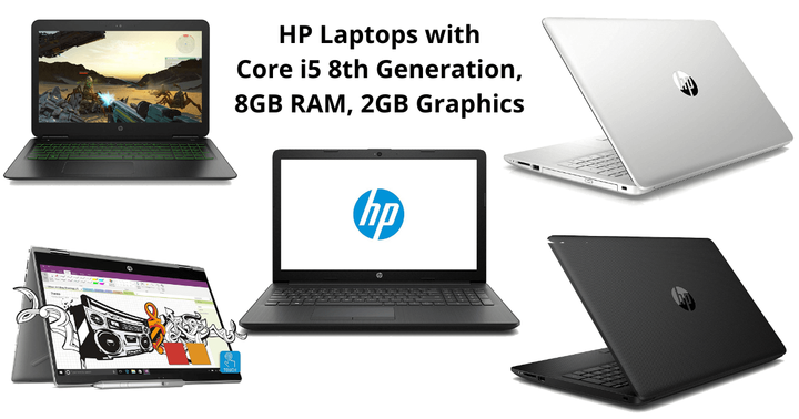 5 HP Laptops with Core i5 8th Generation 8GB RAM 2GB Graphics Ca