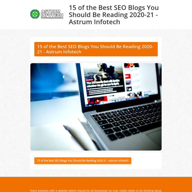 15 of the Best SEO Blogs You Should Be Reading 2020-21 - Astrum