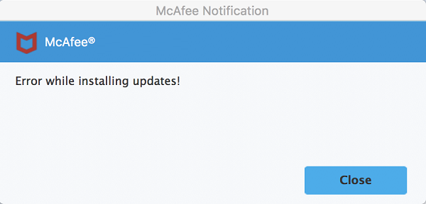 Fix errors while installing McAfee updates on Mac via Mcafee.com